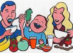 Bilde av glad familie, mat og adhd